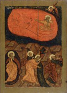 Икона Огненное Восхождение Ильи Пророка. 17 век