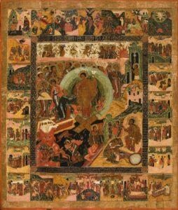 Сошествие во ад, с праздниками и сценами Стратсей в 24 клеймах.1630 г