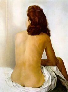 Сальвадор Дали.Обнаженная Гала смотрит в невидимое зеркало.1960 г.