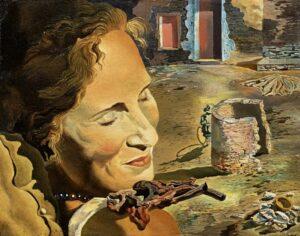 Сальвадор Дали.Портрет Гала с двумя ребрышками ягненка, балансирующими на ее плече.1933 г.