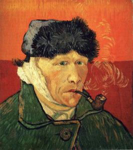 В.Ван Гог.Автопортрет с перевязанным ухом и трубкой.1889 г.