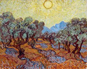 В.Ван Гог.Оливковые деревья с желтым небом и солнце.1889 г.