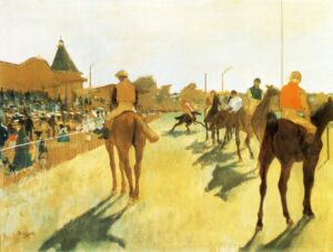 Эдгар Дега.Скачки перед трибунами.1872 г.