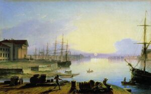 М.Н.Воробьев. Восход солнца над Невой. 1830 г.