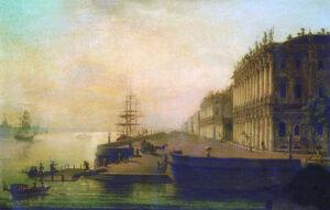 М.Н.Воробьев.Вид Дворцовой набережной в Санкт-Петербурге.1817 г.